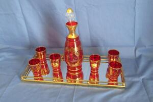 "Red and gold decanter set 11"" T"