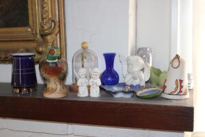Angels, vase, display dome, figurines and other