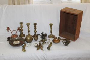 "Brass pieces including candlesticks, bowls, etc., up to 8"" T"