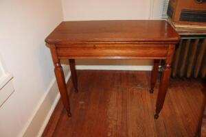 Antique fold-over tea/game table