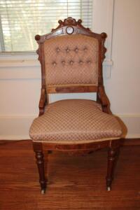 3 ornate upholstered chairs