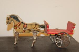 "Vintage horse and buggy, metal legs and cart, 13"" L"