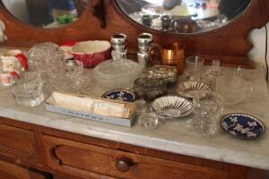 Pressed glass pieces and metal dresser boxes