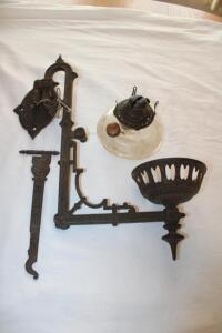 Queen Anne No. 2 oil lamp with wall-mounted holder