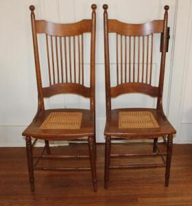 2 woven bottom dining chairs