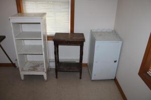 Vintage wooden cabinets and single-drawer side table