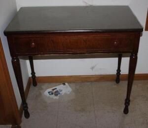 Antique single-drawer desk with glass top