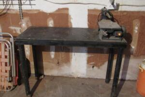 "Sears Craftsman 15"" scroll saw on work table 48"" W x 20"" D x 35"" T"