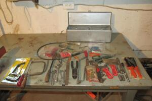 Misc tools and metal tool box