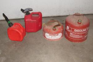 Metal and plastic gas cans