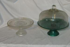 Green glass cake stand with clear cover