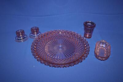 "Pink Depression Glass platter, 14"" W"