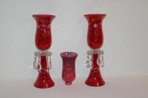 Etched Cranberry Glass candle holders