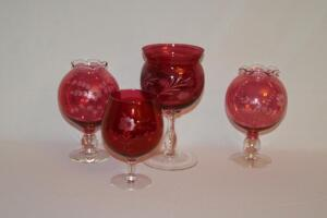 Etched Cranberry Glass vases