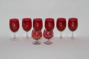 8 Etched Cranberry Glass stemmed glasses