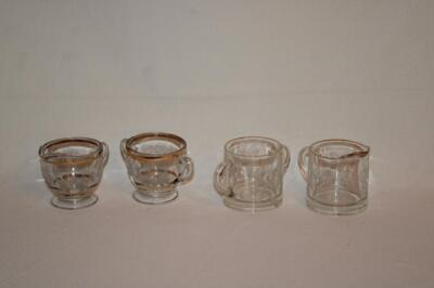 Embossed clear glass creamer and sugar