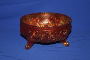 Carnival glass 3-footed bowl