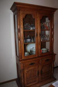 Lighted Wooden china hutch with glass shelves