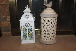 Decorative lanterns with battery operated candles and fairy lights