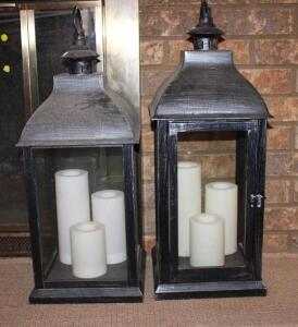Decorative lanterns with candles