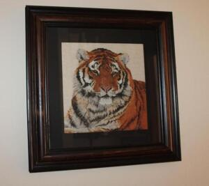 Framed and matted counted cross stitch tiger