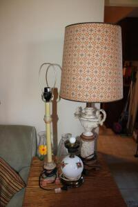 Hand painted lamp, pair of table lamps