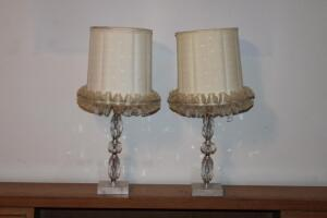 Pair of dresser lamps with marble? bases