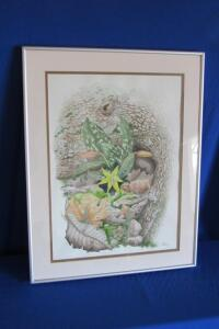 Trout Lily and Tree Root, by Linda S. Ellis, framed and matted print