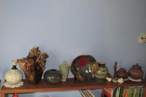 Pottery pieces including bowls, vases
