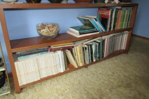 Solid wood book case and books