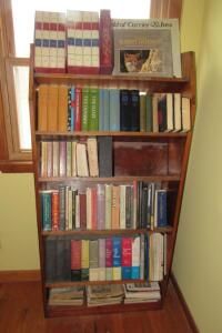 Wooden bookcase and books