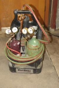 Victor CutSkill acetylene braising torch kit, mostly full bottles
