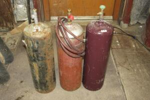 3 small acetylene tanks, 40 cubic ft.