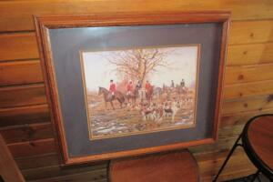 Framed and Matted Fox Hunt print