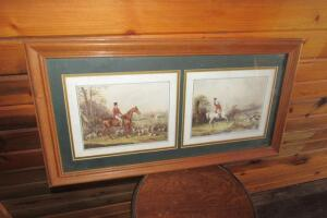 Fox Hunt prints, framed and matted