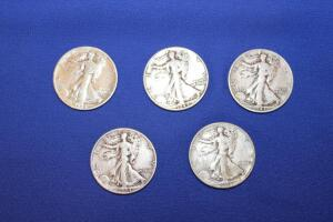 5 Walking Liberty silver half dollars