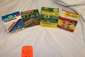4 Boxes of 12 ga. shells, various brands
