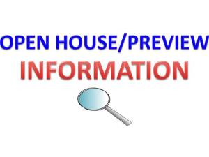 OPEN HOUSE/INSPECTION DATES
