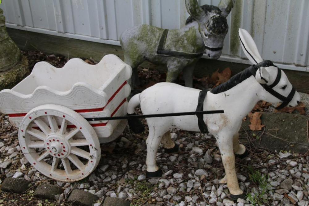 Concrete Donkey With Cart 46 L X 23 T Current Price 120