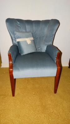 Blue vintage wingback chair