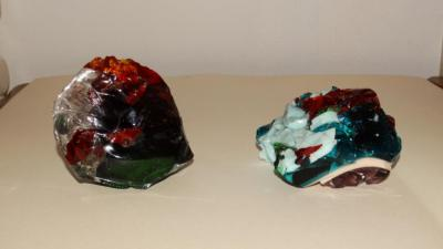 2 Fostoria glass scraps