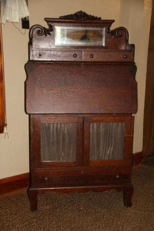 Lot 14 Of 249 Vintage Drop Front Secretary With Bevel Edged Mirror