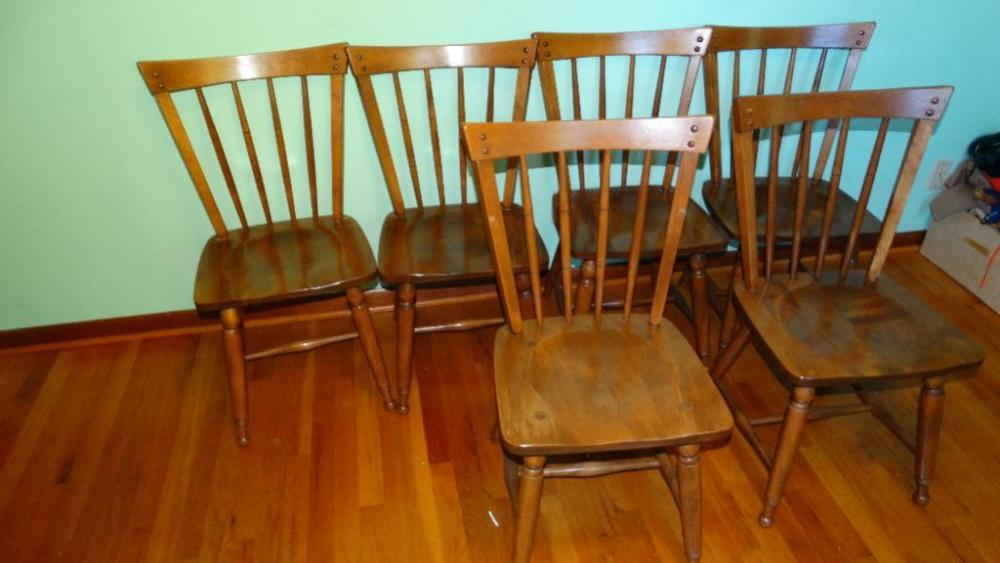 Lot 144 Of 258: 6 Ethan Allen Solid Maple Dining Chairs