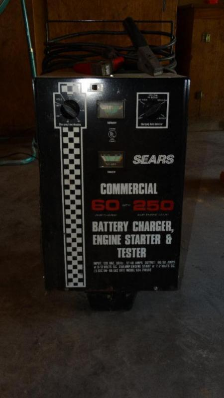 Sears commercial battery charger, engine starter and tester