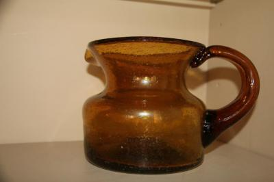 "Crackle glass pitcher 5 1/2"" T"