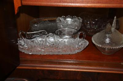 Assorted pressed glass pieces