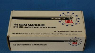 Winchester 44 rem mag, 240 grain jacketed soft-point